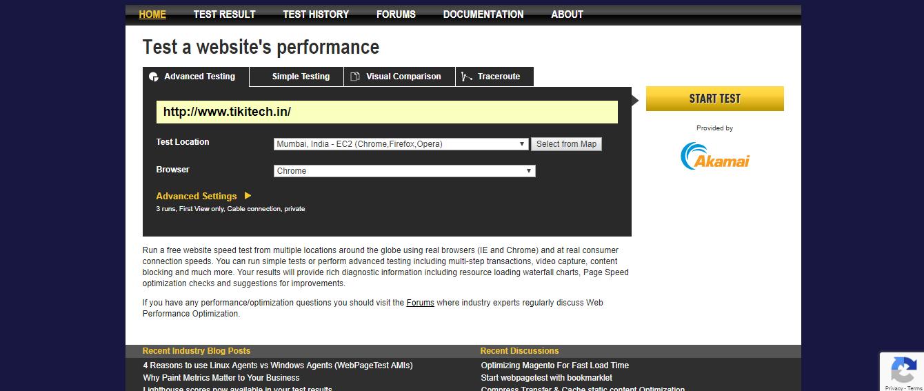 Webpagetest-Website Speed Optimization